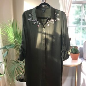 Olive Silky Duster Blouse with Embroidered Flowers